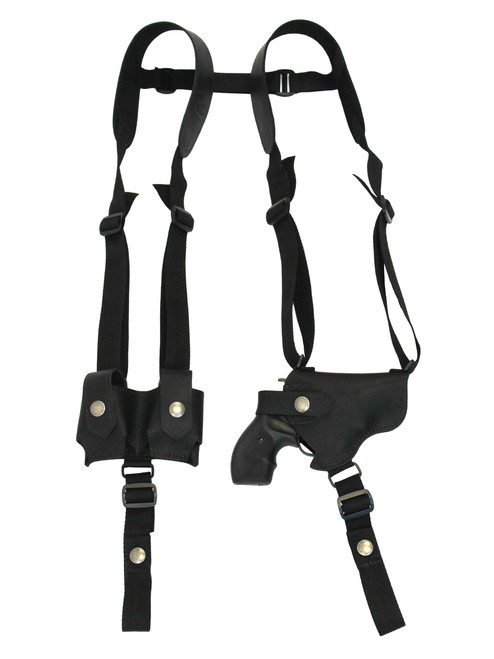 """Black Leather Horizontal Shoulder Holster w/ Speed-loader Pouch for 2"""" Snub Nose Revolvers"""