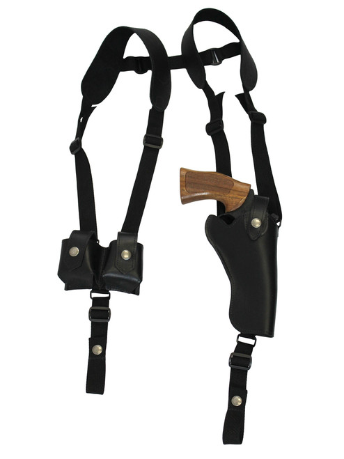 "Black Leather Vertical Shoulder Holster w/ Speed-loader Pouch for 4-5"" Revolvers"