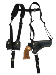 "Black Leather Horizontal Shoulder Holster w/ Speed-loader Pouch for 4"" Revolvers"