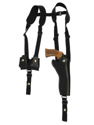 "Black Leather Vertical Shoulder Holster w/ Speed-loader Pouch for 6"" Revolvers"