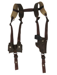"Brown Leather Vertical Shoulder Holster w/ Speed-loader Pouch for 2"" Snub Nose Revolvers"