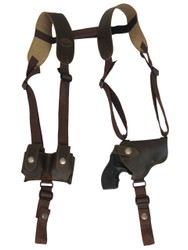 "Brown Leather Horizontal Shoulder Holster w/ Speed-loader Pouch for 2"" Snub Nose Revolvers"