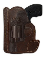 "Brown Leather Ambidextrous Pocket Holster for 2"", Snub-Nose .38 .357 Revolvers"