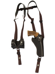 "Brown Leather Vertical Shoulder Holster w/ Speed-loader Pouch for 4"" Revolvers"