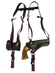 "Brown Leather Horizontal Shoulder Holster w/ Speed-loader Pouch for 4-5"" Revolvers"