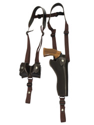 "Brown Leather Vertical Shoulder Holster w/ Speed-loader Pouch for 6"" Revolvers"