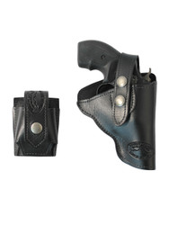 "Black Leather OWB Holster + Speed-loader Pouch for Snub Nose 2"" Revolvers"