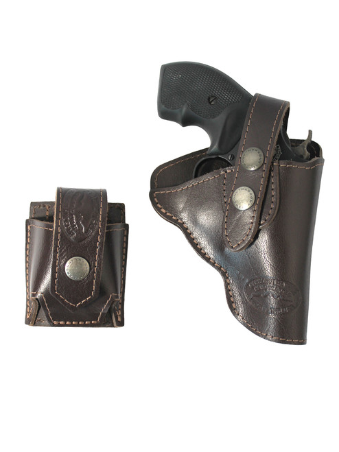 """Brown Leather OWB Holster + Speed-loader Pouch for Snub Nose 2"""" Revolvers"""