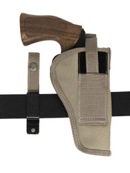 ambidextrous revolver holster with interchangeable belt clip or loop options
