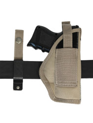 ambidextrous holster with belt clip and belt loop option