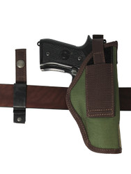 Ambidextrous holster with interchangeable belt clip/loop