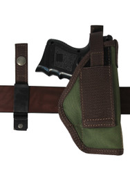 Ambidextrous holster with interchangeable belt clip and belt loop