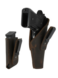 New Brown Leather Tuckable IWB Holster + Magazine Pouch for Full Size 9mm .40 .45 Pistols (CTU68-32BR)