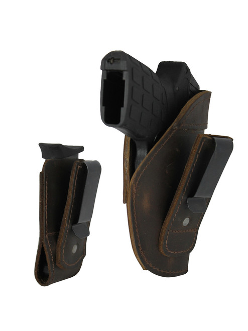 Brown Leather Tuckable IWB Holster + Magazine Pouch for 380, Ultra Compact 9mm 40 45 Pistols