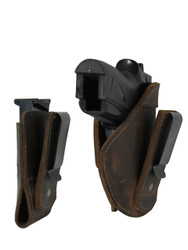 New Brown Leather Tuckable IWB Holster + Mag Pouch for Mini/Pocket .22 .25 .380 Pistols (CTU68-4sBR)
