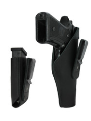 New Black Leather Tuckable IWB Holster + Magazine Pouch for Full Size 9mm .40 .45 Pistols (CTU68-32BL)
