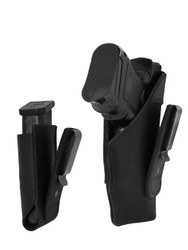 Black Leather Tuckable IWB Holster + Magazine Pouch for Compact Sub-Compact 9mm .40 .45 Pistols