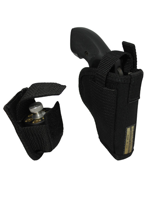"""OWB Holster + Speed-loader Pouch for 2"""", Snub-Nose .38 .357 Revolvers"""