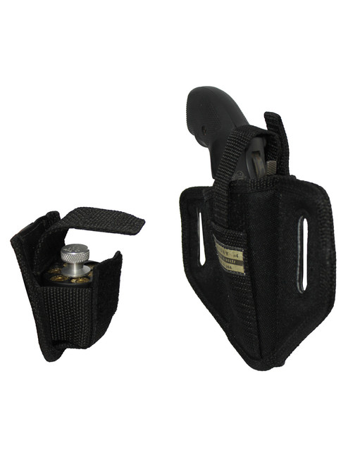 "6 Position Ambidextrous Pancake Holster + Speed-loader Pouch for 2"" Snub Nose Revolvers"