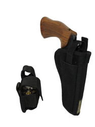 """New OWB Holster + Speed-loader Pouch for 4"""" 22 38 357 41 44 Revolvers (#53-4SL)"""