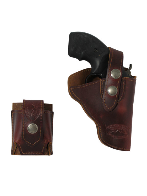 """Burgundy Leather OWB Holster + Speed-loader Pouch for Snub Nose 2"""" Revolvers"""