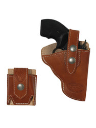 "Saddle Tan Leather OWB Holster + Speed-loader Pouch for Snub Nose 2"" Revolvers"