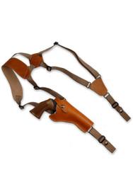 """Saddle Tan Leather Vertical Shoulder Holster for 4"""" Revolvers"""