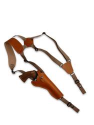 """Saddle Tan Leather Vertical Shoulder Holster for 6"""" Revolvers"""