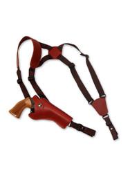 """Burgundy Leather Vertical Shoulder Holster for 4"""" Revolvers"""