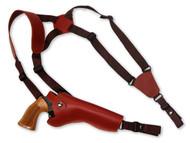 """Burgundy Leather Vertical Shoulder Holster for 6"""" Revolvers"""