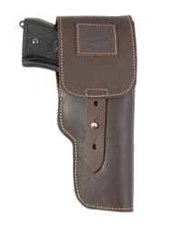 Brown Leather Flap Holster for Full Size 9mm 40 45 Pistols