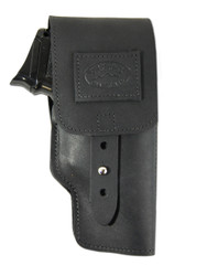 Black Leather Flap Holster for Compact 9mm 40 45 Pistols
