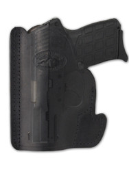 Black Leather Ambidextrous Pocket Holster for Compact 9mm 40 45 Pistols