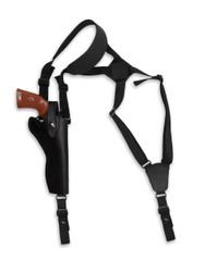 """Black Leather Vertical Shoulder Holster for 6"""" Revolvers"""