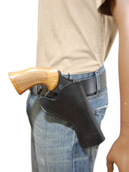 """Black Leather Cross Draw Holster for 4"""" Revolvers"""