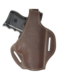 Brown Leather Pancake Holster for Compact Sub-Compact 9mm 40 45 Pistols