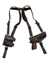 Brown Leather Horizontal Shoulder Holster with Magazine Pouch for Full Size 9mm .40 .45 Pistols