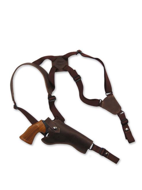 """Brown Leather Vertical Shoulder Holster for 4"""" Revolvers"""