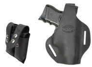 New Black Leather Pancake Holster + Double Magazine Pouch for Compact 9mm 40 45 Pistols (#C59BL)