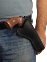 """Black Leather Cross Draw Holster for 6"""" Revolvers"""
