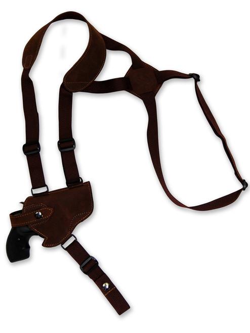 "Brown Leather Horizontal Shoulder Holster for 2-3"" Snub Nose Revolvers"