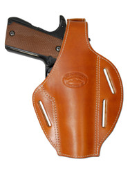 Saddle Tan Leather Pancake Holster for Full Size 9mm 40 45 Pistols