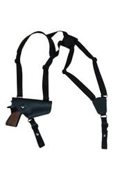 Black Leather Horizontal Shoulder Holster for Full Size 9mm 40 45 Pistols