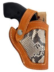 "Saddle Tan Leather Python Snake Skin Inlay Belt Holster for 2"" Snub Nose Revolvers"
