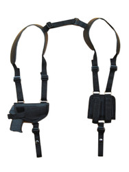 New Horizontal Shoulder Gun Holster with Double Magazine Pouch for Small 380, Ultra Compact 9mm 40 45 Pistols (#NY42)