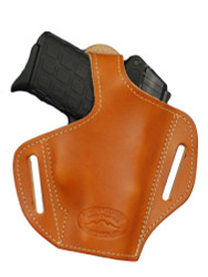 Saddle Tan Leather Pancake Holster for Small 380, Ultra Compact 9mm 40 Pistols