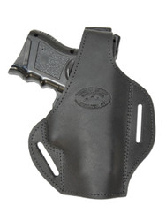 Black Leather Pancake Holster for Compact Sub-Compact 9mm 40 45 Pistols