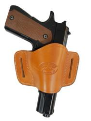 Saddle Tan Leather Quick Slide Holster for Full Size 9mm 40 45 Pistols