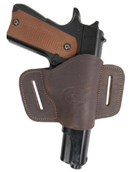 Brown Leather Quick Slide Holster for Full Size 9mm 40 45 Pistols