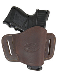 Brown Leather Quick Slide Holster for Compact Sub-Compact 9mm 40 45 Pistols